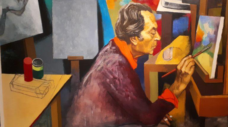 Il maestro Guttuso mentre dipinde, immagine tratta dalla sua opera L'Atelier