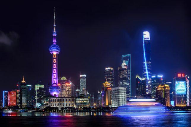 Foto notturna di città cinese