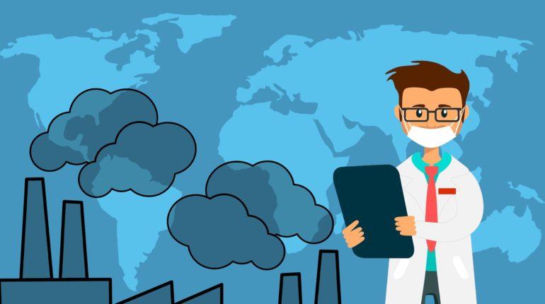 Inquinamento: disegno con dottore che fornisce consigli