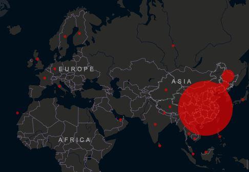 Mappa dell'infezione aggiornata al 2 febbraio. Focolaio maggiore in Cina.