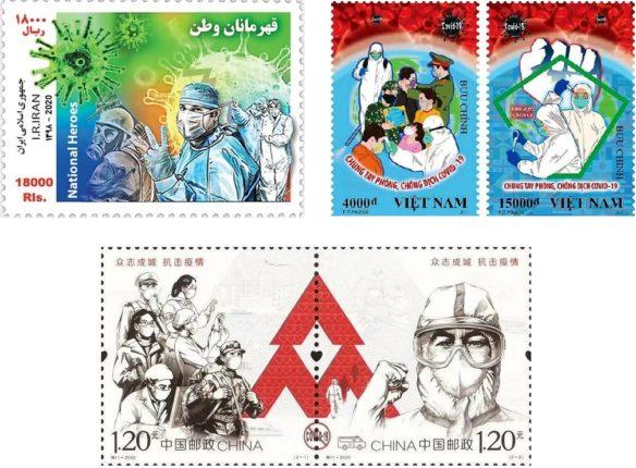 I tre francobolli con i protagonisti che hanno conbattuto contro il Covid-19
