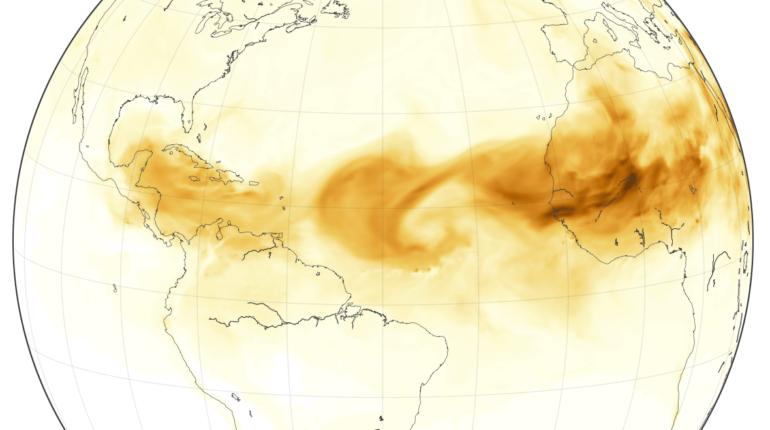 Disegno grafico di nube di sabbia dal Sahara all'America