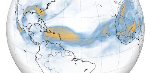 ricostruzione grafica della nube di sabbia saharia sopra le americhe