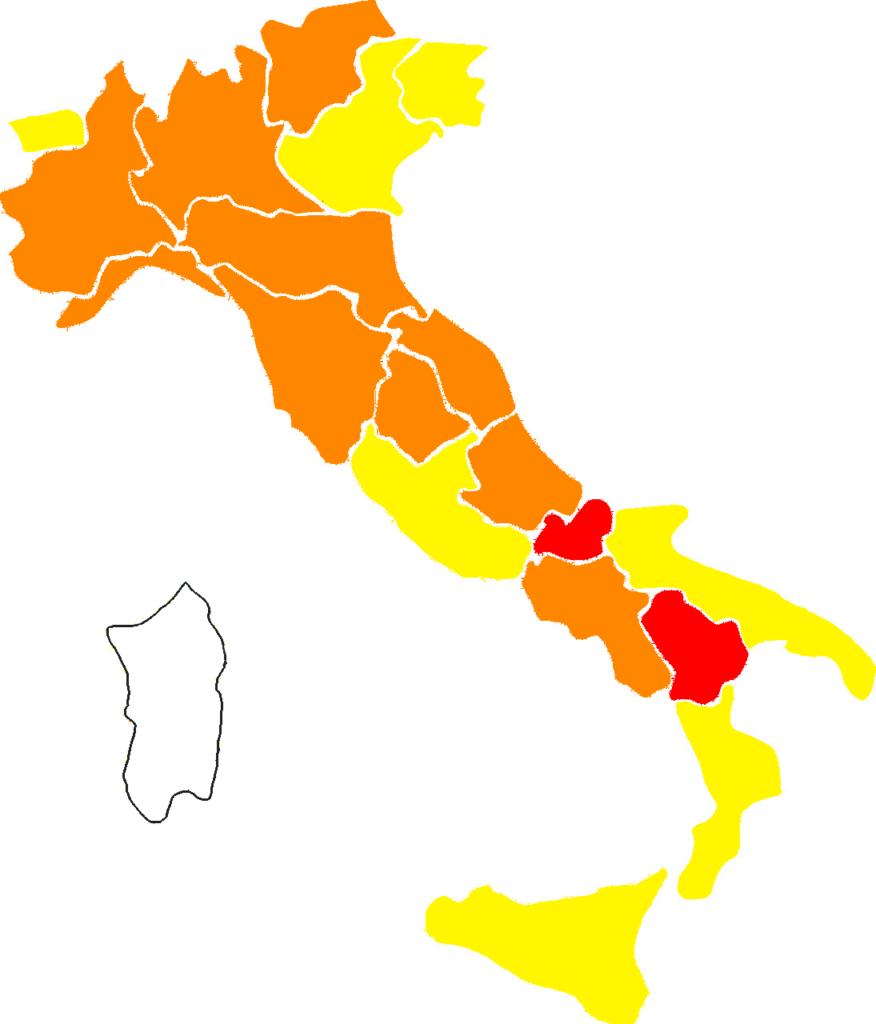 Mappa colori italia dal 1 marzo 2021