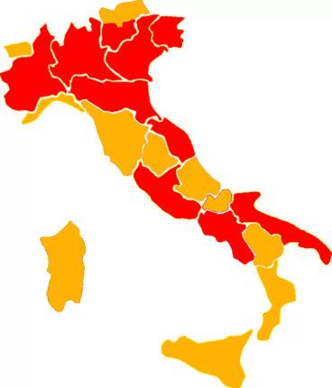 mappa colori regioni italiane 22 marzo